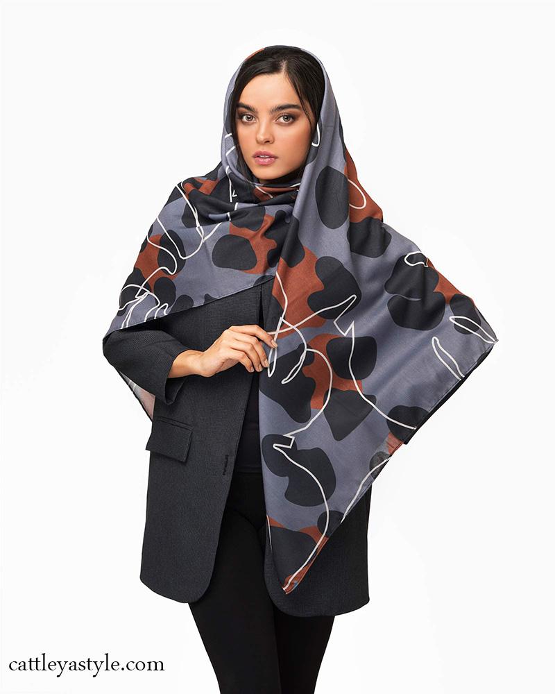خرید روسری طوسی پرنگ